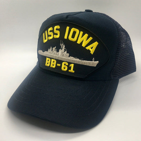 USS IOWA BB-61 MESH BACK HAT * MADE IN THE USA