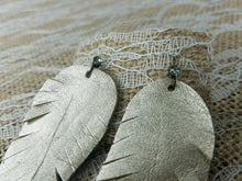 White gold leather feather earrings