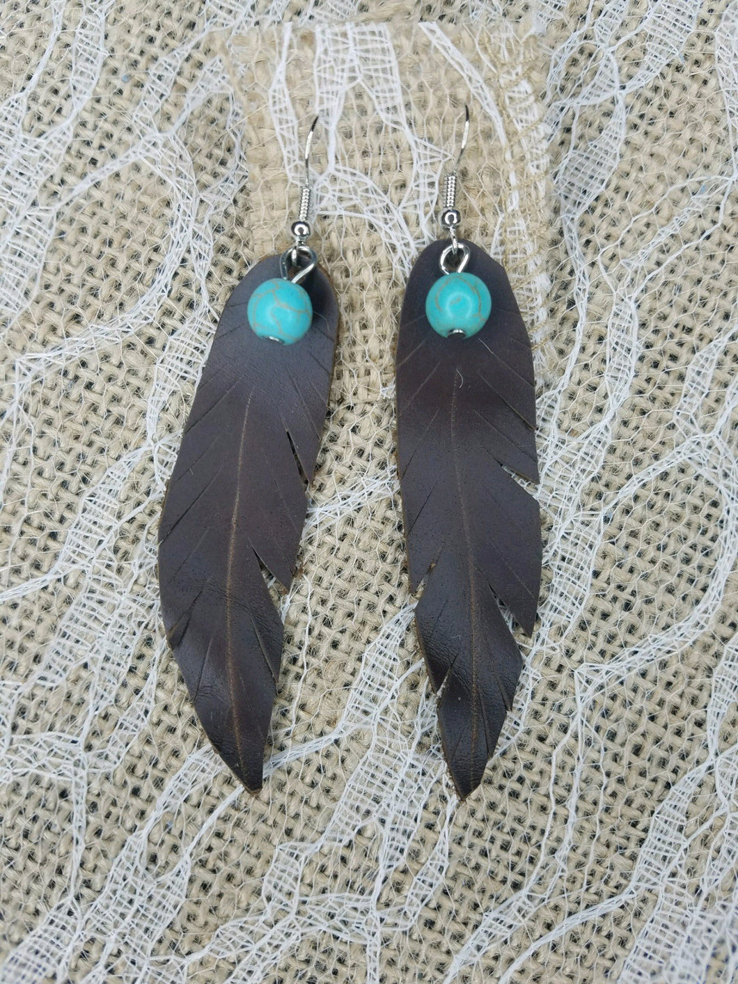 chocolate brown leather feather earrings