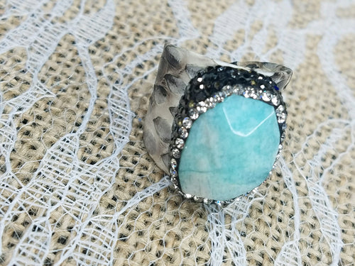 Crystal and snake embossed leather adjustable ring