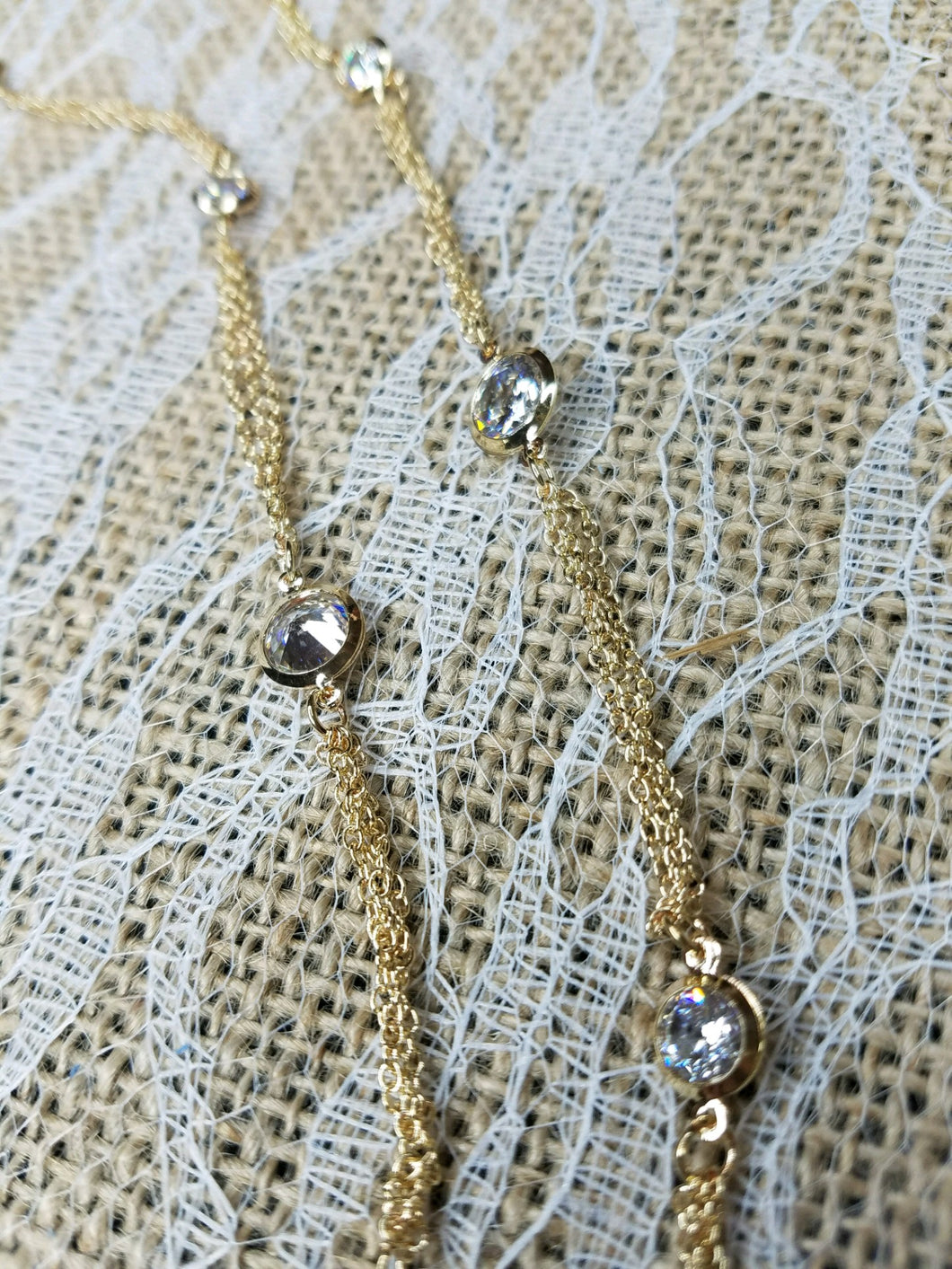 Sparkling crystals on gold chain