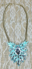 Crystal patina statement necklace