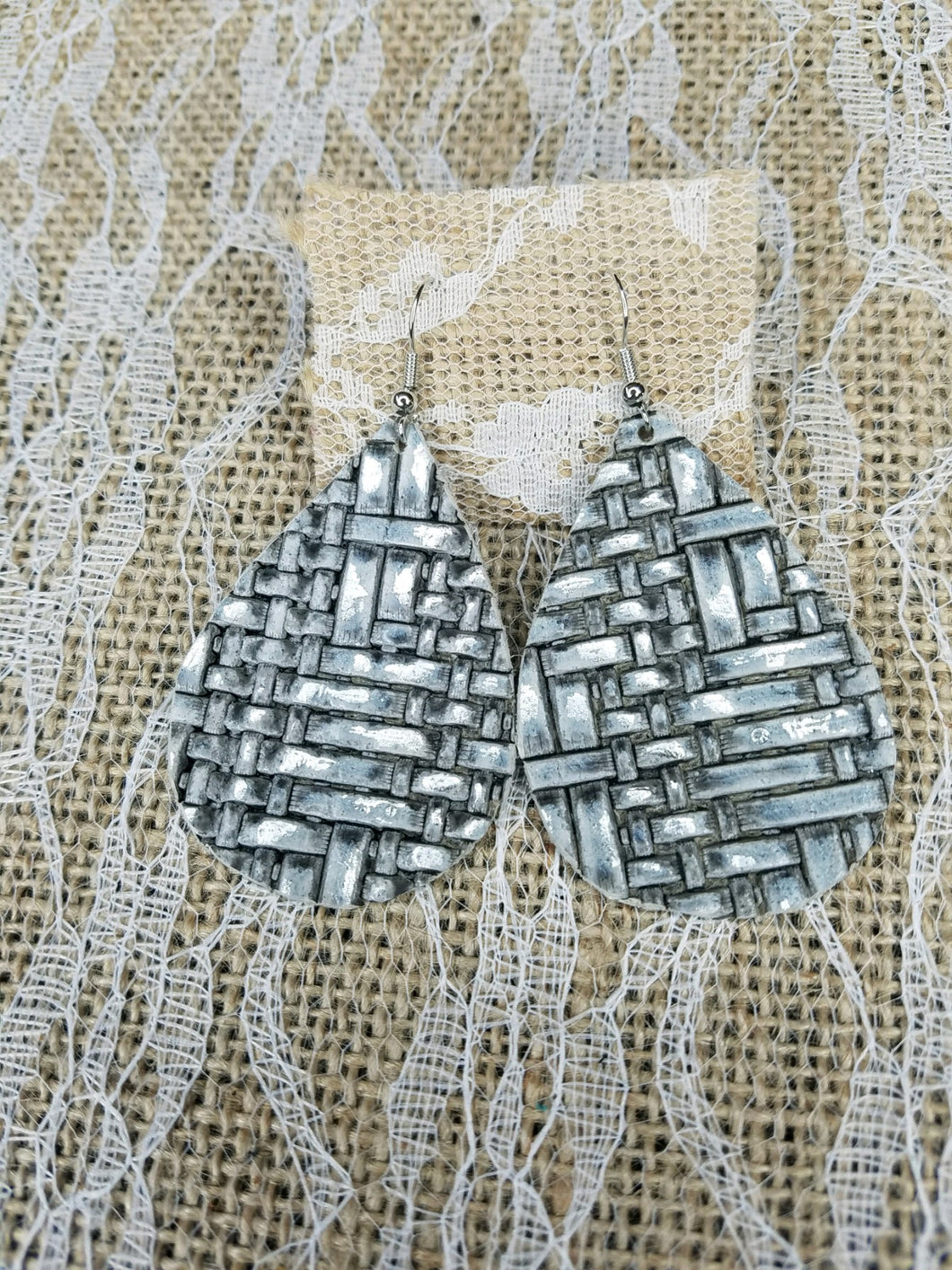 Shimmery silver leather earrings