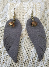 Chocolate leather feather earrings