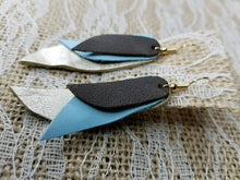 Baby blue layered leather earrings