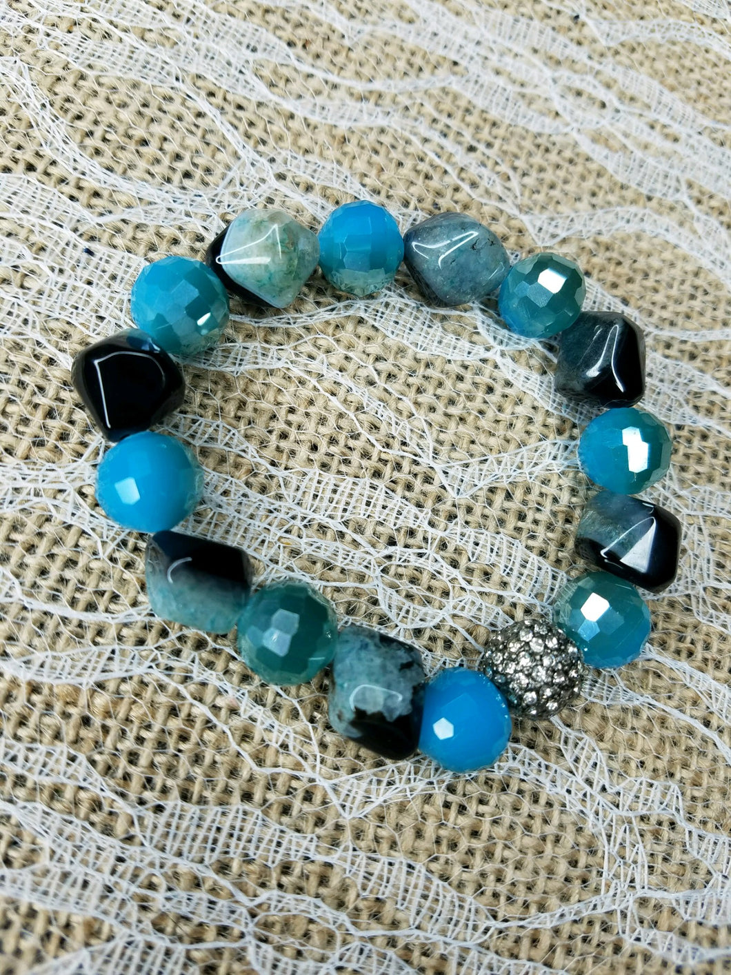 Black agate and blue quartz stretch bracelet