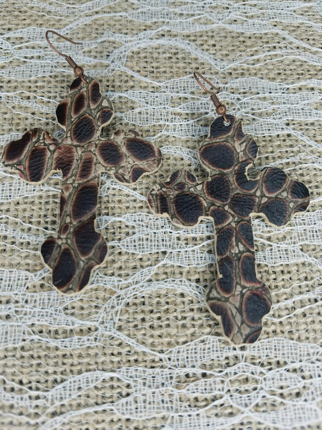 Brown Croc leather earrings