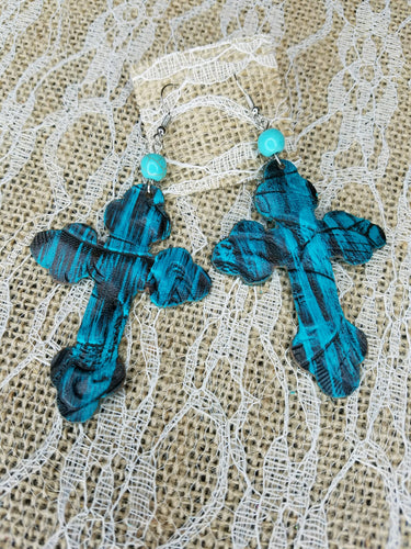 Black and turquoise leather cross earrings