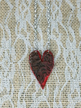 Red tooled leather heart necklace