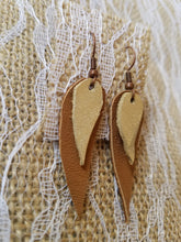 Saddle n gold leather earrings