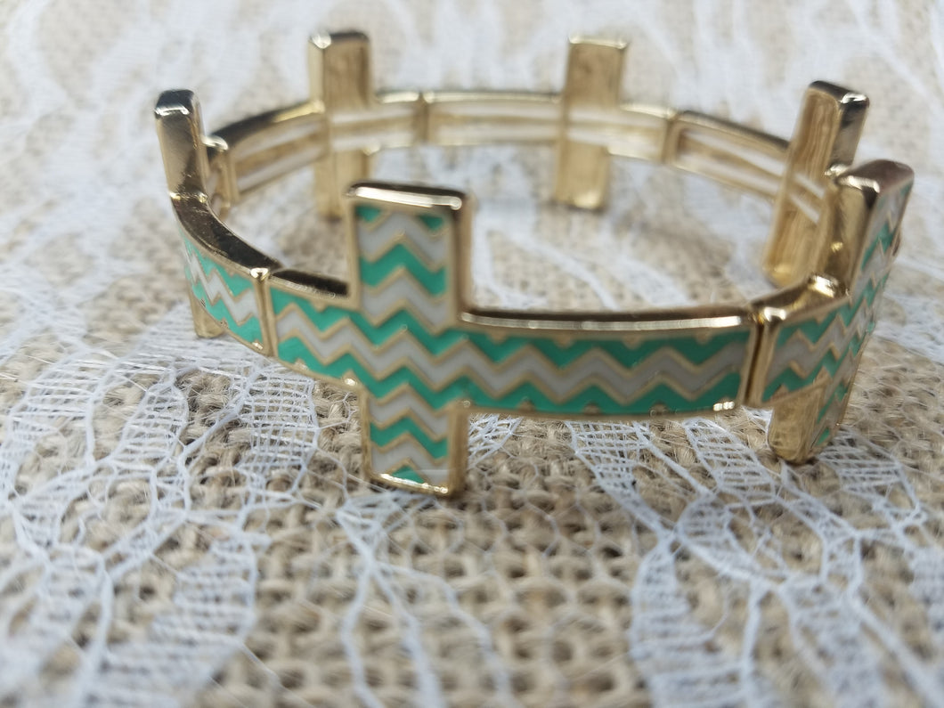 Chevron cross stretch bracelet