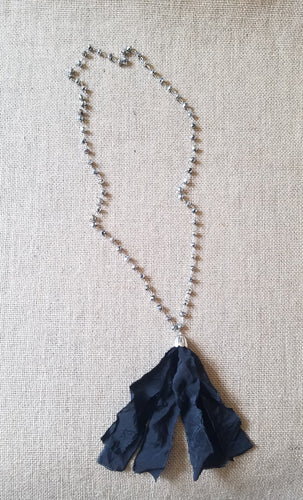 Black fabric tassel necklace