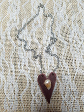 Freshwater pearl leather heart necklace