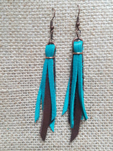 Two tone leather tassel earrings