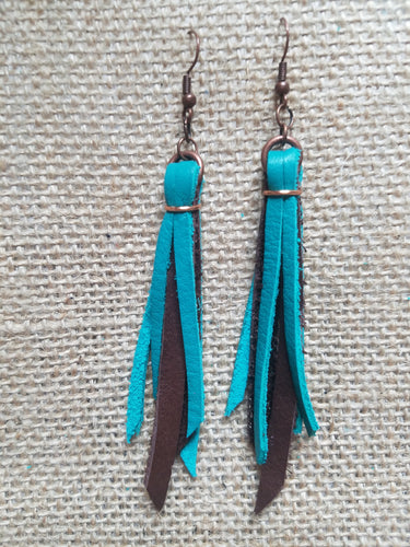 Leather tassel earrings  3.5 inches
