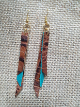 Croc and turquoise tassel bar earrings