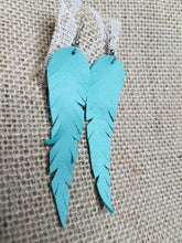 Light turquoise leather feather earrings