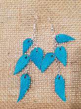 Turquoise leather feather dangle earrings