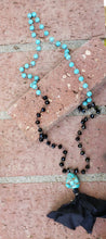 Turquoise and black tassel necklace
