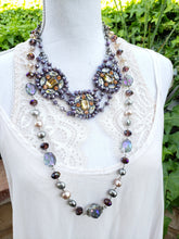 Lavendar long crystal necklace