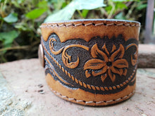 Eagle tooled leather cuff bracelet