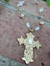 Gold crystal cross necklace