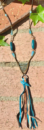Jessie teal Leather tassel necklace