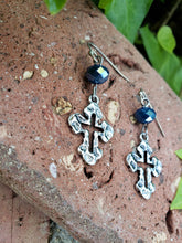 Blue crystal cross earrings