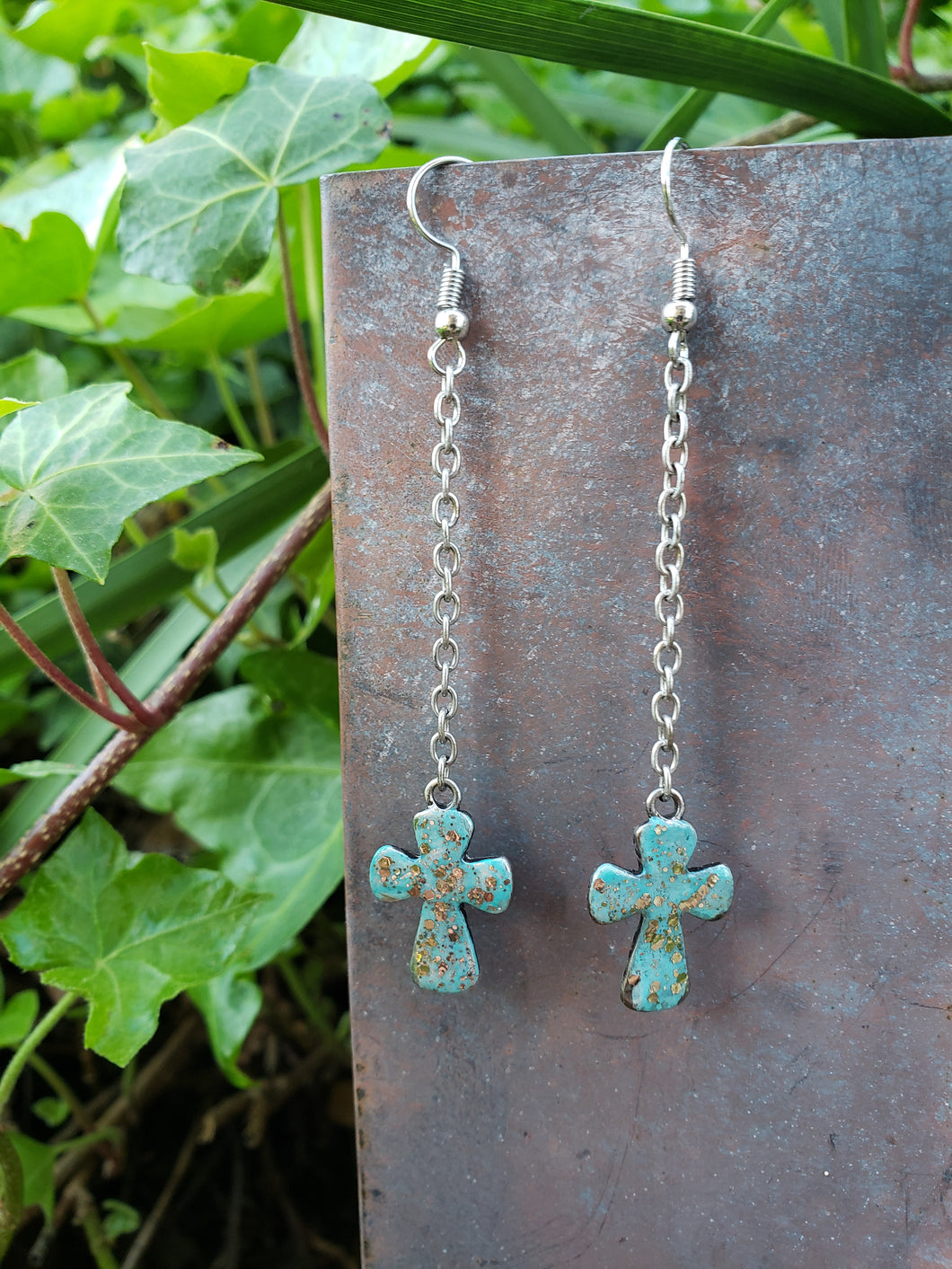 Turquoise chain cross earrings