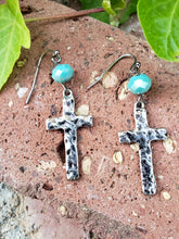 Hammered cross earrings