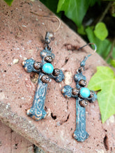 Copper patina cross earrings