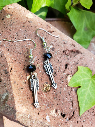 Black crystal arrow earrings