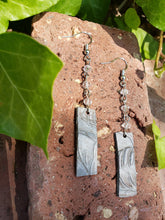 Silver leather bar dangle earrings