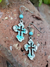 Glitter cross earrings