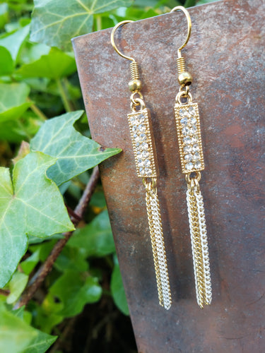 Gold chain tassel earrings