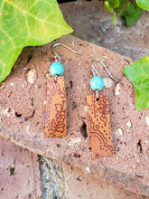 Paisley leather bar earrings