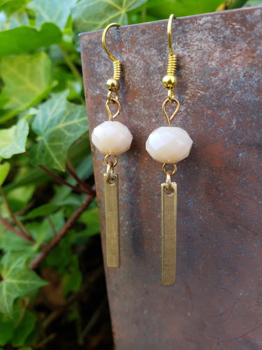 Gold bar dangle earrings