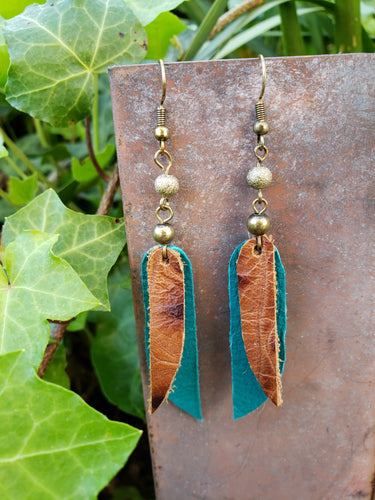 Turquoise layered dangle leather earrings