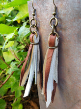 Antiqued brass leather tassel earrings