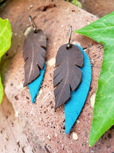 Petite brown and teal layered feather earrings