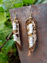 Coffee n creme leather dangle earrings