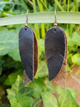 Black n Brown layered leather feather earrings