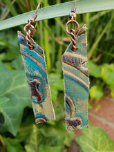 Copper and leather bar earrings