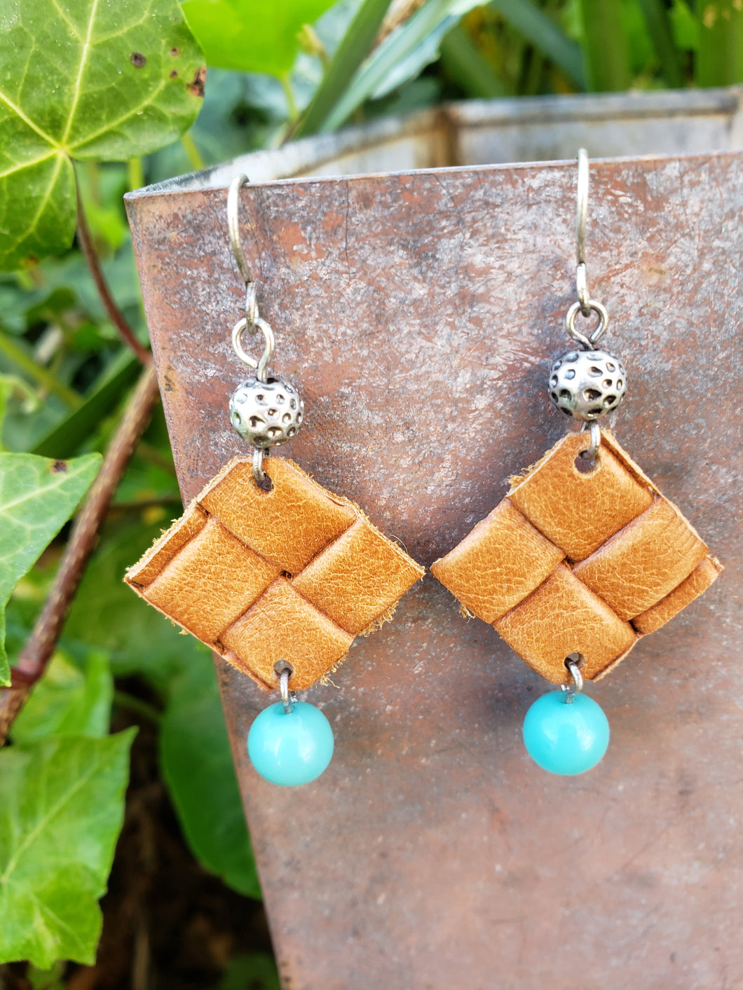Basket weave leather earrings