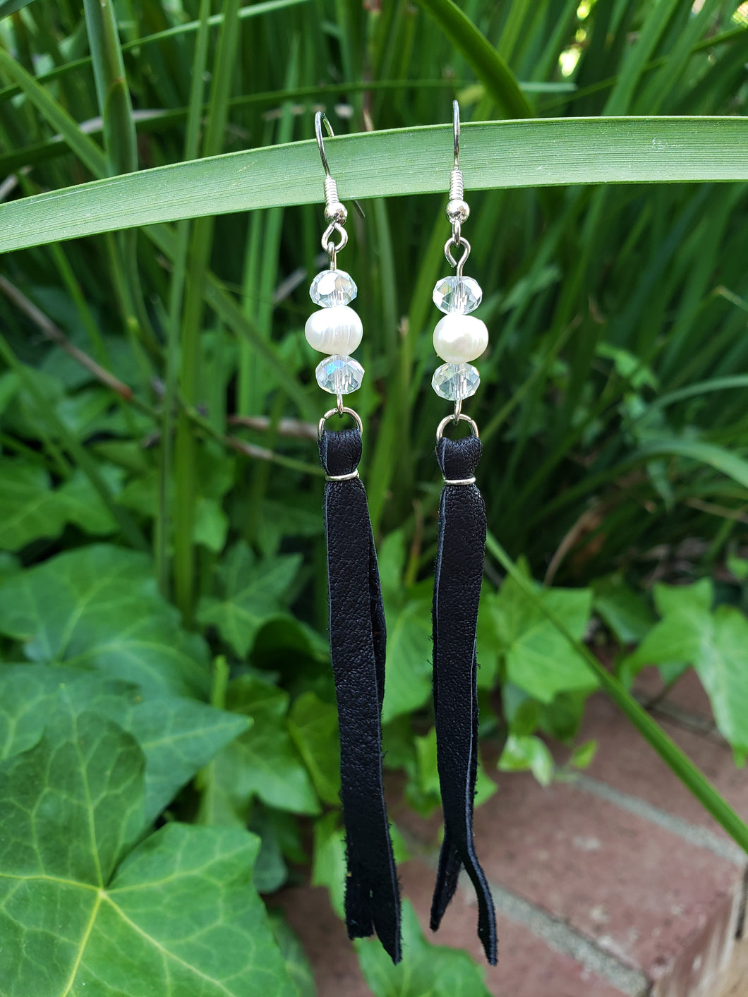 Freshwater pearl and crystal fringe earrings