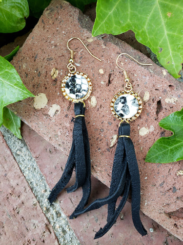 Black snakeskin fringe earrings