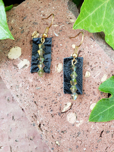 Black leather bar earrings