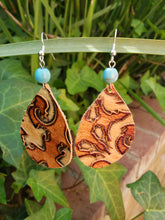 Brown filigree leather earrings