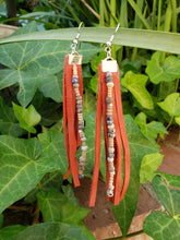 Rust beaded fringe earrings