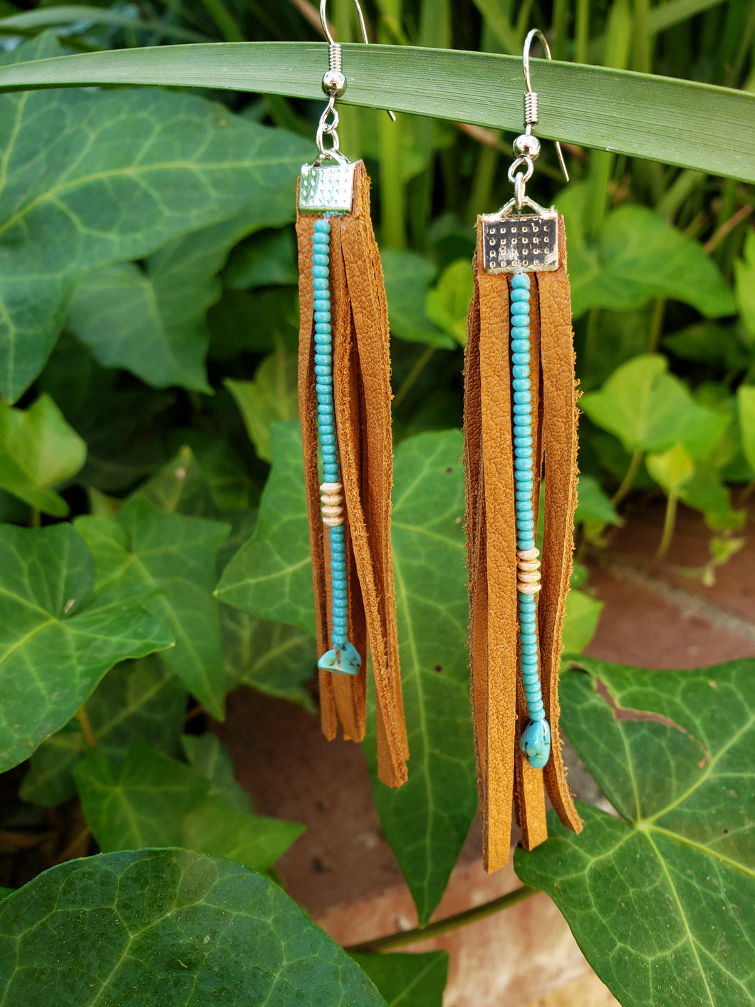 Sand beaded fringe earrings